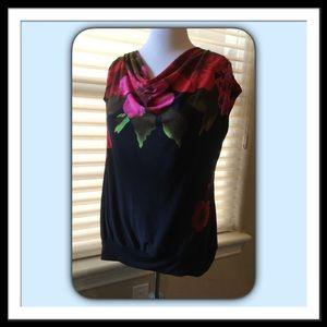 Lane Bryant Black Floral Tunic, Size 14/16